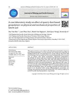 A case laboratory study on effect of quarry dust based geopolymer on physical and mechanical properties of laterit soil