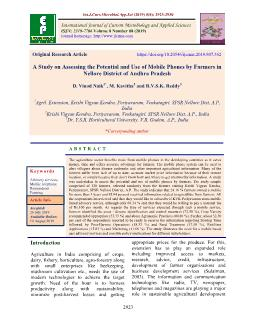 A Study on Assessing the Potential and Use of Mobile Phones by Farmers in Nellore District of Andhra Pradesh