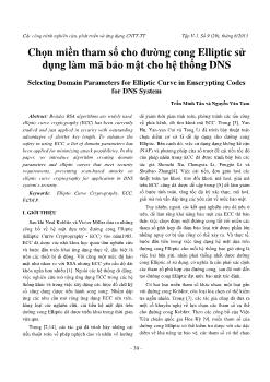 Chọn miền tham số cho đường cong Elliptic sử dụng làm mã bảo mật cho hệ thống DNS