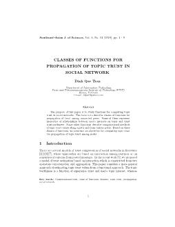 Classes of functions for propagation of topic trust in social network