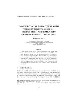 Computational topic trust with user's interests based on propagation and similarity measure in social networks