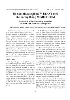 Đề xuất thuật giải mã V-BLAST mới cho các hệ thống MIMO-OFDM