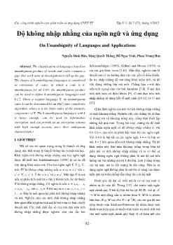 Độ không nhập nhằng của ngôn ngữ và ứng dụng