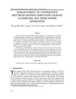 Enhancement of cooperative spectrum sensing employing genetic algorithm and noise power estimation