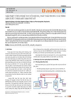 Giải pháp công nghệ thu hồi khí NH3 phát thải trong quá trình sản xuất ở nhà máy đạm Phú Mỹ