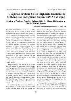 Giải pháp sử dụng bộ lọc thích nghi Kalman cho hệ thống ước lượng kênh truyền WiMAX di động