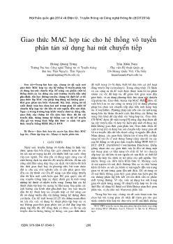 Giao thức MAC hợp tác cho hệ thống vô tuyến phân tán sử dụng hai nút chuyển tiếp