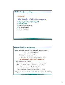 Giáo trình Tín hiệu và Hệ thống - Bài 15: Đáp ứng tần số và bộ lọc tương tự - Trần Quang Việt