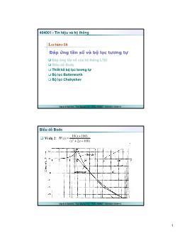 Giáo trình Tín hiệu và Hệ thống - Bài 16: Đáp ứng tần số và bộ lọc tương tự - Trần Quang Việt