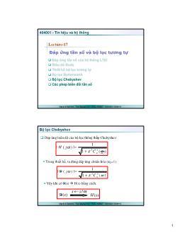 Giáo trình Tín hiệu và Hệ thống - Bài 17: Đáp ứng tần số và bộ lọc tương tự - Trần Quang Việt