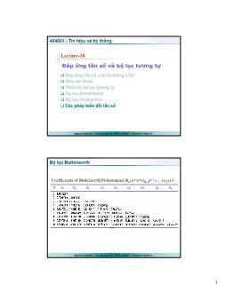 Giáo trình Tín hiệu và Hệ thống - Bài 18: Đáp ứng tần số và bộ lọc tương tự - Trần Quang Việt