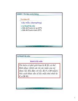 Giáo trình Tín hiệu và Hệ thống - Bài 19: Lấy mẫu (Sampling) - Trần Quang Việt