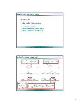 Giáo trình Tín hiệu và Hệ thống - Bài 20: Lấy mẫu (Sampling) - Trần Quang Việt