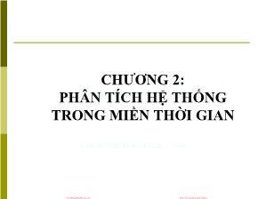 Giáo trình Tín hiệu và Hệ thống - Chương 2: Phân tích hệ thống trong miền thời gian - Đinh Thị Thái Mai