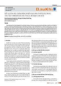 Kết quả đo độ thấm bằng nhiều phương pháp khác nhau cho vỉa turbidite mỏ Hải Thạch, bể nam Côn Sơn