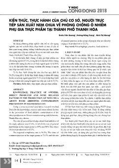 Kiến thức, thực hành của chủ cơ sở, người trực tiếp sản xuất nem chua về phòng chống ô nhiễm phụ gia thực phẩm tại thành phố Thanh Hóa