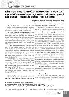 Kiến thức, thực hành về an toàn vệ sinh thực phẩm của người kinh doanh thực phẩm tươi sống tại chợ Bắc Quang, huyện Bắc Quang, tỉnh Hà Giang