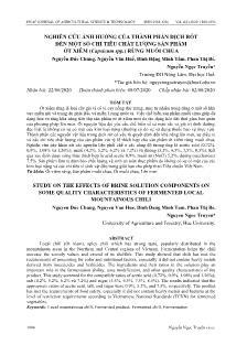Nghiên cứu ảnh hưởng của thành phần dịch rót đến một số chỉ tiêu chất lượng sản phẩm ớt xiêm (capsicum spp.) rừng muối chua