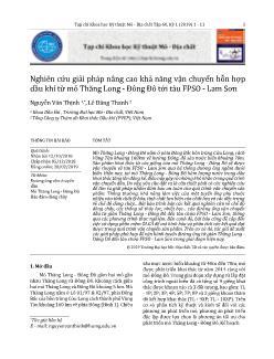 Nghiên cứu giải pháp nâng cao khả năng vận chuyển hỗn hợp dầu khí từ mỏ Thăng Long-Đông Đô tới tàu FPSO-Lam Sơn