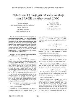 Nghiên cứu kỹ thuật giải mã mềm với thuật toán BPA-EH cải tiến cho mã LDPC