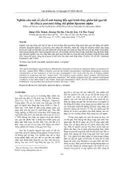 Nghiên cứu một số yếu tố ảnh hưởng đến quá trình thủy phân bột gạo lứt đỏ (Oryza punctate) bằng chế phẩm Spezyme alpha