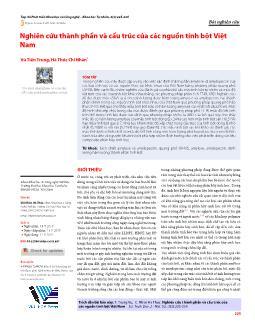 Nghiên cứu thành phần và cấu trúc của các nguồn tinh bột Việt Nam