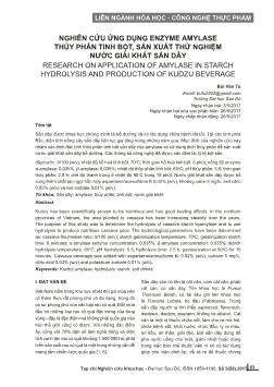 Nghiên cứu ứng dụng enzyme amylase thủy phân tinh bột, sản xuất thử nghiệm nước giải khát sắn dây