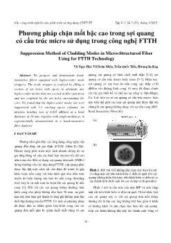 Phương pháp chặn mốt bậc cao trong sợi quang có cấu trúc micro sử dụng trong công nghệ FTTH