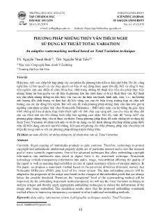 Phương pháp nhúng thủy vân thích nghi sử dụng kỹ thuật total variation
