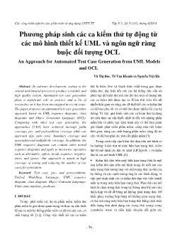 Phương pháp sinh các ca kiểm thử tự động từ các mô hình thiết kế uml và ngôn ngữ ràng buộc đối tượng ocl