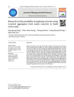 Research on the possibility of applying concrete using recycled aggregates from waste concrete to build rural roads