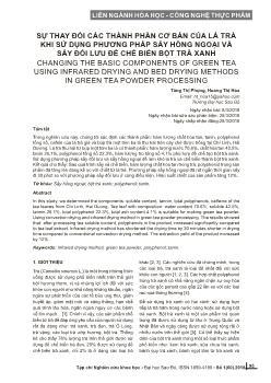 Sự thay đổi các thành phần cơ bản của lá trà khi sử dụng phương pháp sấy hồng ngoại và sấy đối lưu để chế biến bột trà xanh