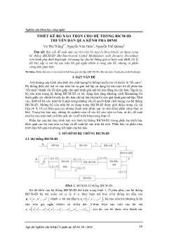 Thiết kế bộ xáo trộn cho hệ thống BICM-ID truyền dẫn qua kênh pha đinh