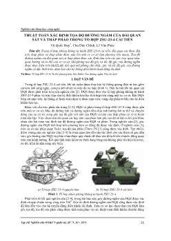 Thuật toán xác định tọa độ đường ngắm của đài quan sát và tháp pháo trong tổ hợp zsu-23-4 cải tiến