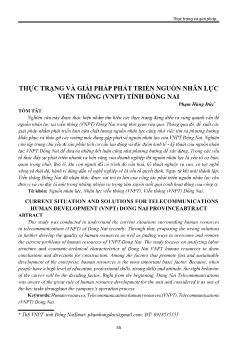 Thực trạng và giải pháp phát triển nguồn nhân lực viễn thông (VNPT) tỉnh Đồng Nai