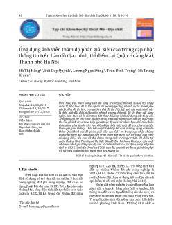Ứng dụng ảnh viễn thám độ phân giải siêu cao trong cập nhật thông tin trên bản đồ địa chính, thí điểm tại Quận Hoàng Mai, Thành phố Hà Nội
