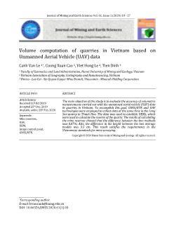 Volume computation of quarries in Vietnam based on Unmanned Aerial Vehicle (UAV) data