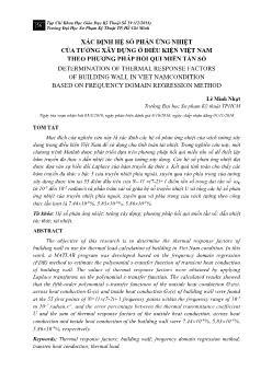 Xác định hệ số phản ứng nhiệt của tường xây dựng ở điều kiện Việt Nam theo phương pháp hồi qui miền tần số