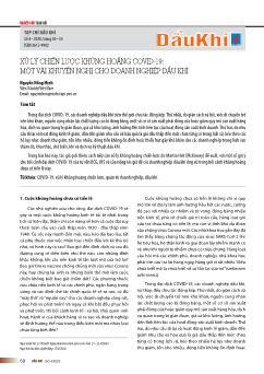Xử lý chiến lược khủng hoảng Covid-19-Một vài khuyến nghị cho doanh nghiệp dầu khí