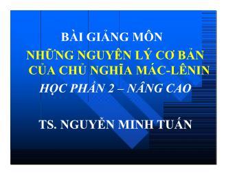 Bài giảng môn Học thuyết giá trị thặng dư - Nguyễn Minh Tuấn