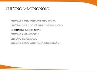 Bài giảng Nền móng - Chương 3: Móng nông