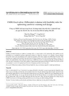 Công cụ CHDE tích hợp trong Excel: Sử dụng thuật toán tiến hóa vi phân kết hợp các quy tắc khả thi cho việc tối ưu hóa thiết kế tường chắn đất