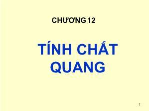 Giáo trình Cơ sở khoa học Vật liệu - Chương 12: Tính chất quang - Lê Văn Thăng
