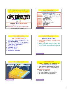 Giáo trình Công trình Thủy - Chương 1: Tổng quan về Tài nguyên nước Việt Nam - Nguyễn Thống