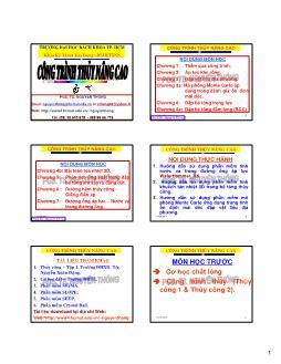 Giáo trình Công trình thủy nâng cao - Chương 1: Thấm qua công trình - Nguyễn Thống