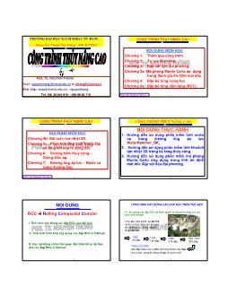 Giáo trình Công trình Thủy nâng cao - Chương 4a: Đập bê tông đầm lăng - Nguyễn Thống