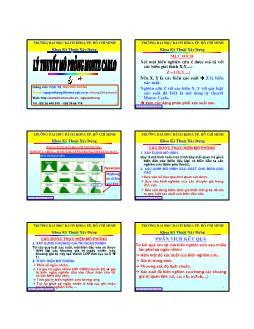 Giáo trình Lý thuyết mô phỏng Monte Carlo - Chương 7.2: Phân tích độ nhạy, rủi ro - Monte Carlo - Nguyễn Thống