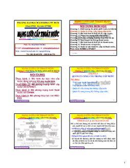 Giáo trình Mạng lưới cấp thoát nước - Chương 2: Quản lý cung-cầu trong cấp nước - Nguyễn Thống