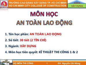 Giáo trình môn An toàn lao động - Chương 1: Những vấn đề chung về bảo hiểm lao động - Nguyễn Chí Hùng