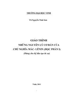 Giáo trình Những nguyên lý cơ bản của chủ nghĩa Mác-Lênin (Phần 1)